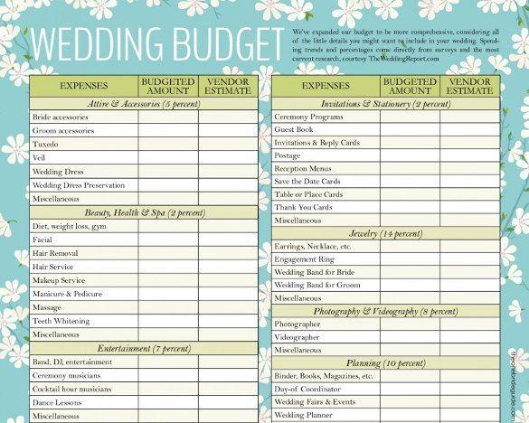 Wedding Planning Budget Template 12 Wedding Bud Templates
