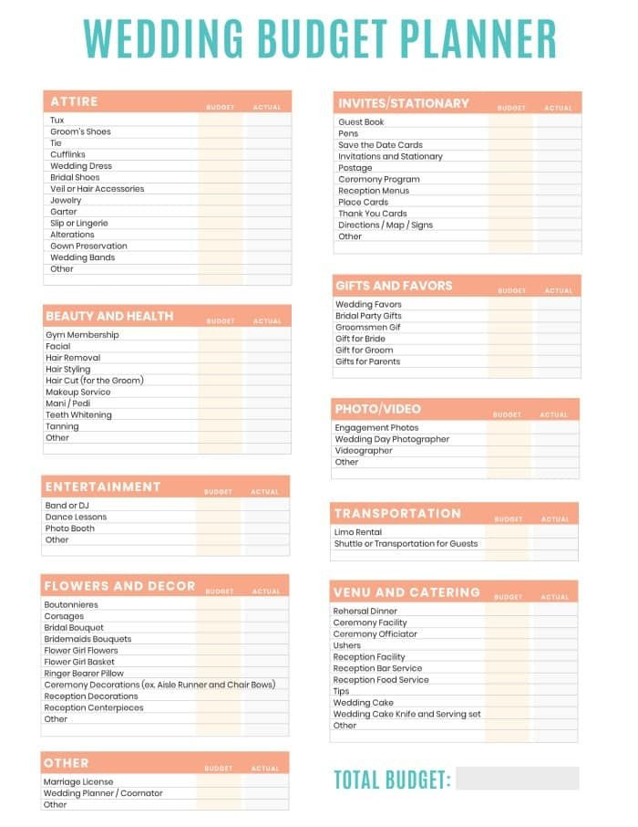 Wedding Planning Budget Template Free Printable Wedding Bud Planner Worksheet