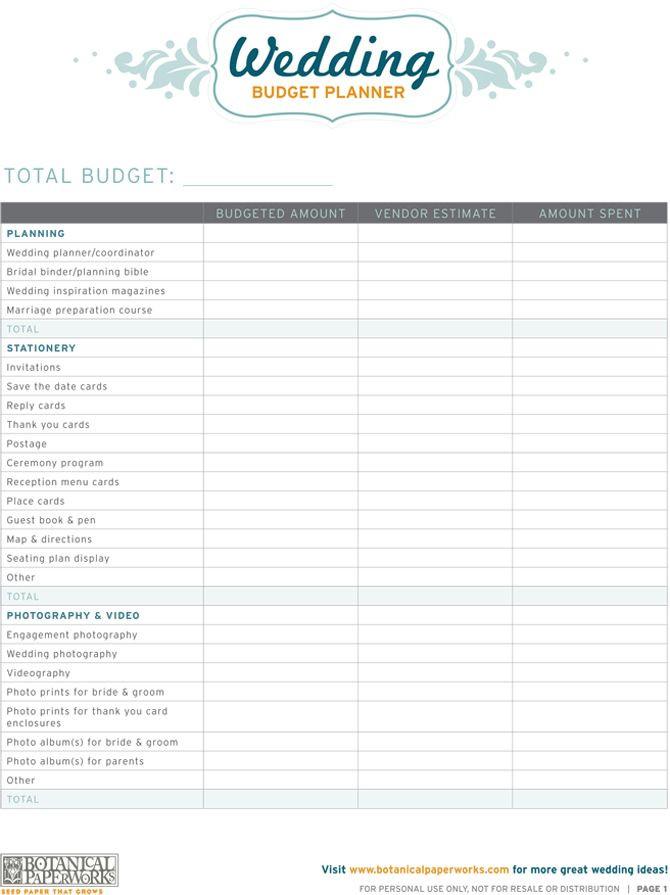 Wedding Planning Budget Template Free Printables Wedding Bud Planner
