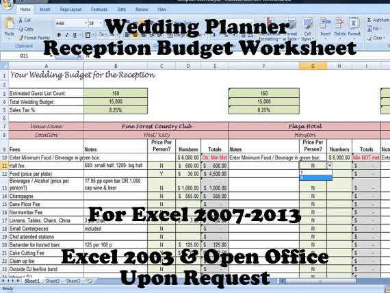 Wedding Planning Budget Template Wedding Planner Reception Bud Worksheet Wedding Planning