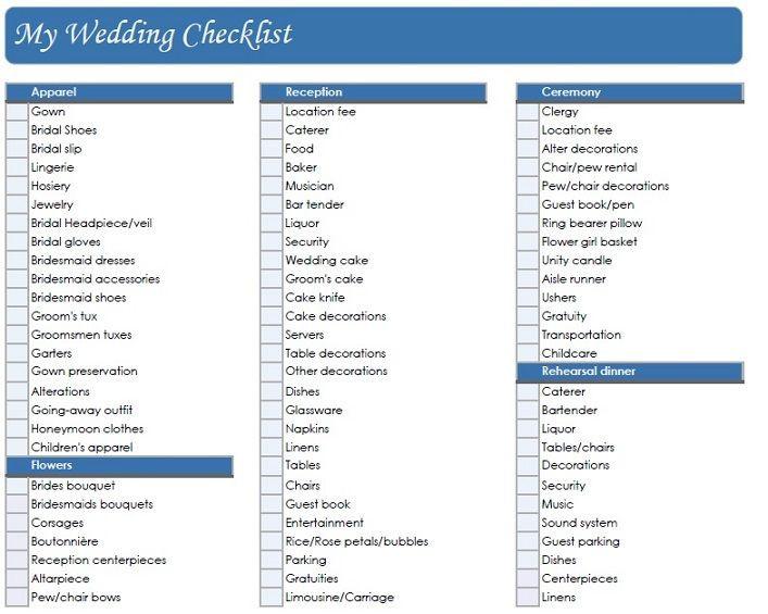 Wedding Planning Checklist Template Printable Wedding Checklist
