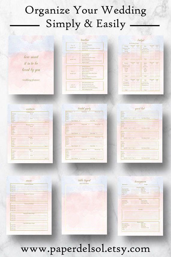 Wedding Planning Checklist Template Wedding Planner Downloadable Wedding Planner Book Pdf