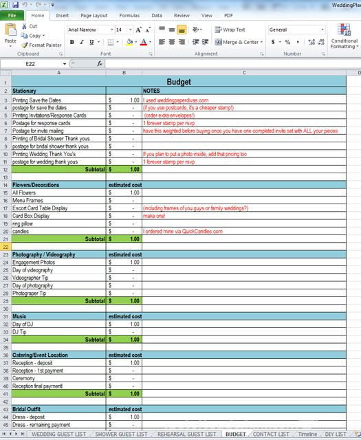 Wedding Planning Excel Template 3 tools for Party Wedding Planning