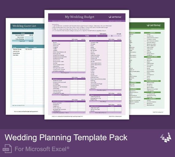 Wedding Planning Excel Template Wedding Planning Template Pack for Excel In 2020