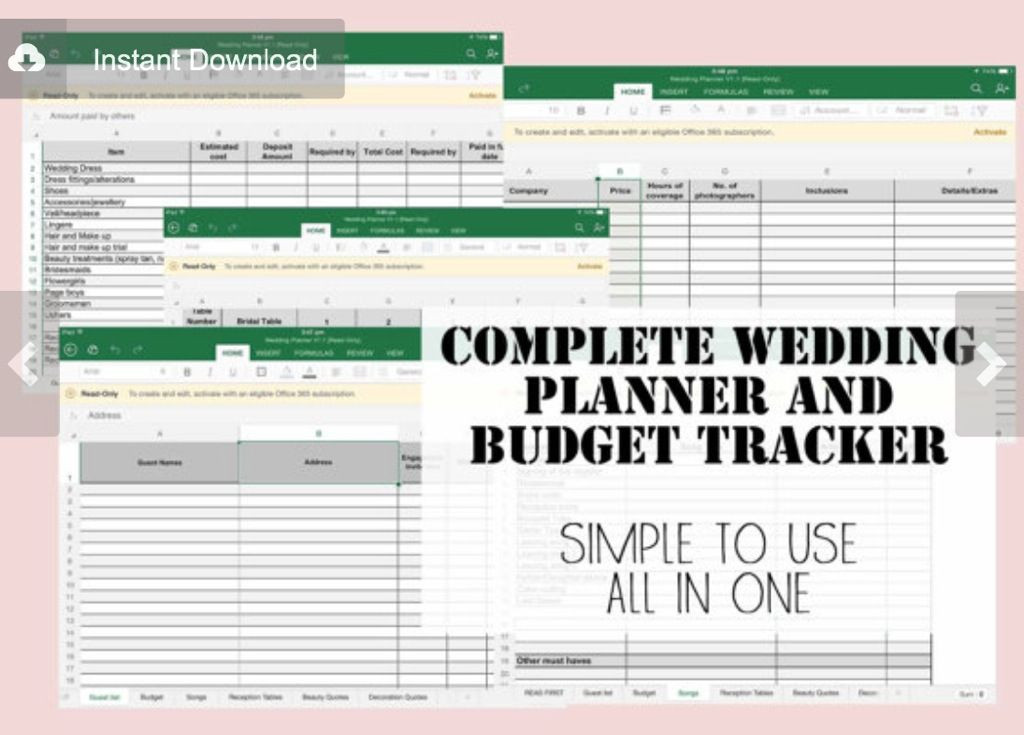 Wedding Planning Spreadsheet Template Simplify Create Inspire