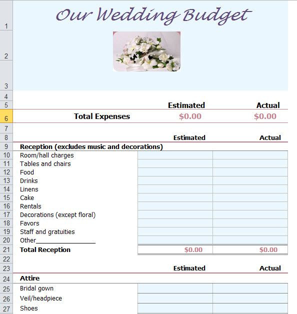 Wedding Planning Spreadsheet Template Wedding Bud Planner Template for Excel