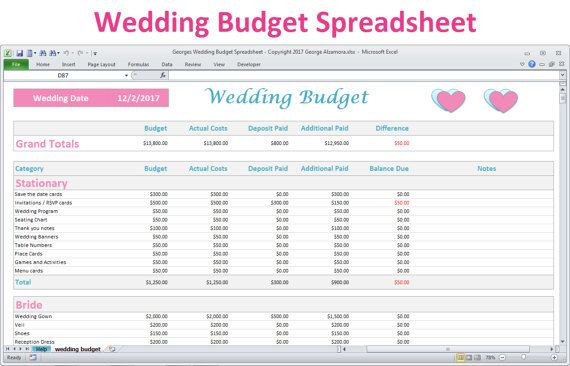 Wedding Planning Spreadsheet Template Wedding Bud Spreadsheet Planner Excel Wedding Bud