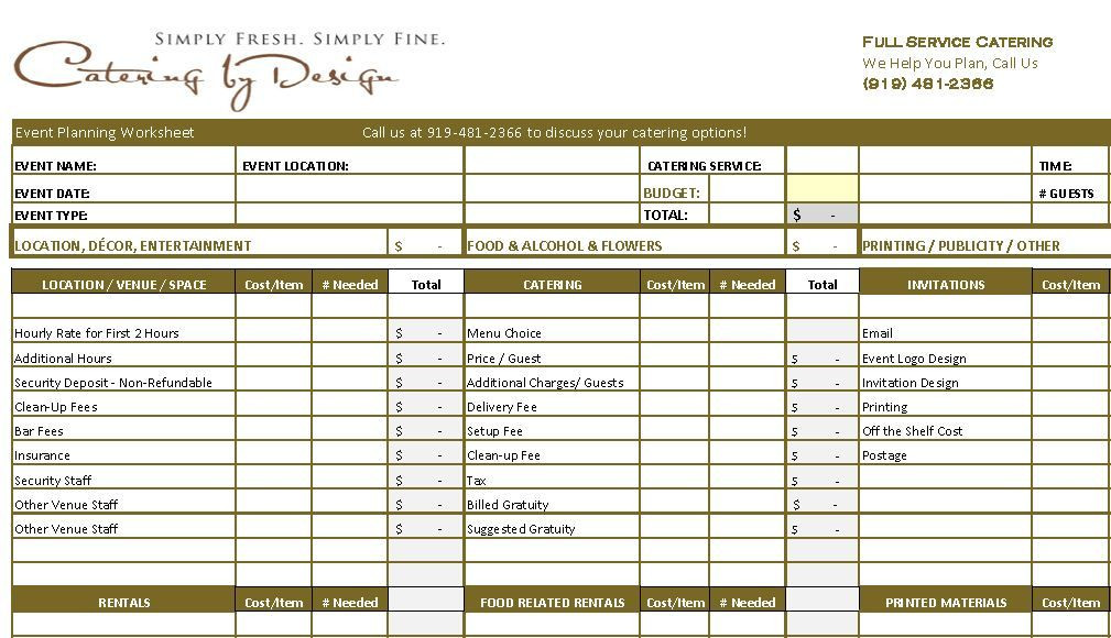 Wedding Planning Spreadsheet Template Wedding Catering Bud Worksheet Advanced and Simple