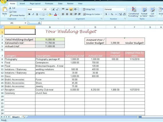 Wedding Planning Template Excel Wedding Bud Excel Spreadsheet Template Photos Of Planner