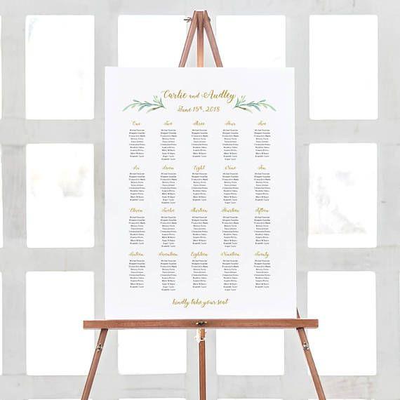 Wedding Seating Plan Template Greenery Wedding Seating Chart Table Plan Templates 10 Sizes