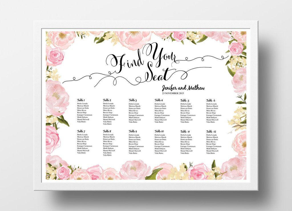Wedding Seating Plan Template Seating Chart Poster 18x24 Peony Pink