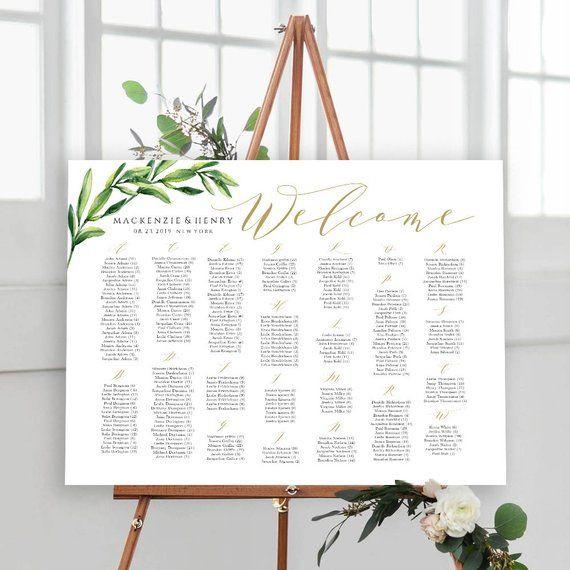 Wedding Seating Plan Template Seating Chart Template Alphabetical Wedding Seating Sign