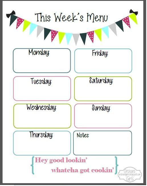 Weekly Dinner Menu Planner Template Cute Weekly Menu Template Weekly Dinner Menu Printable