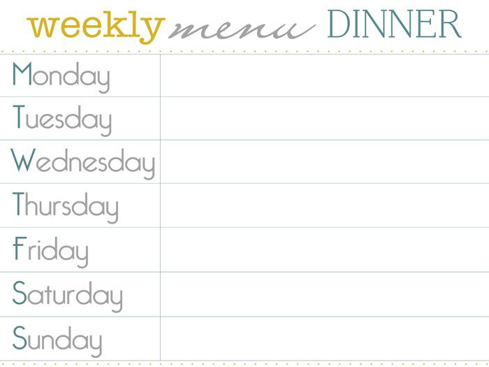 Weekly Dinner Menu Planner Template Pin by Jen Shannon On Cool Diy Stuff