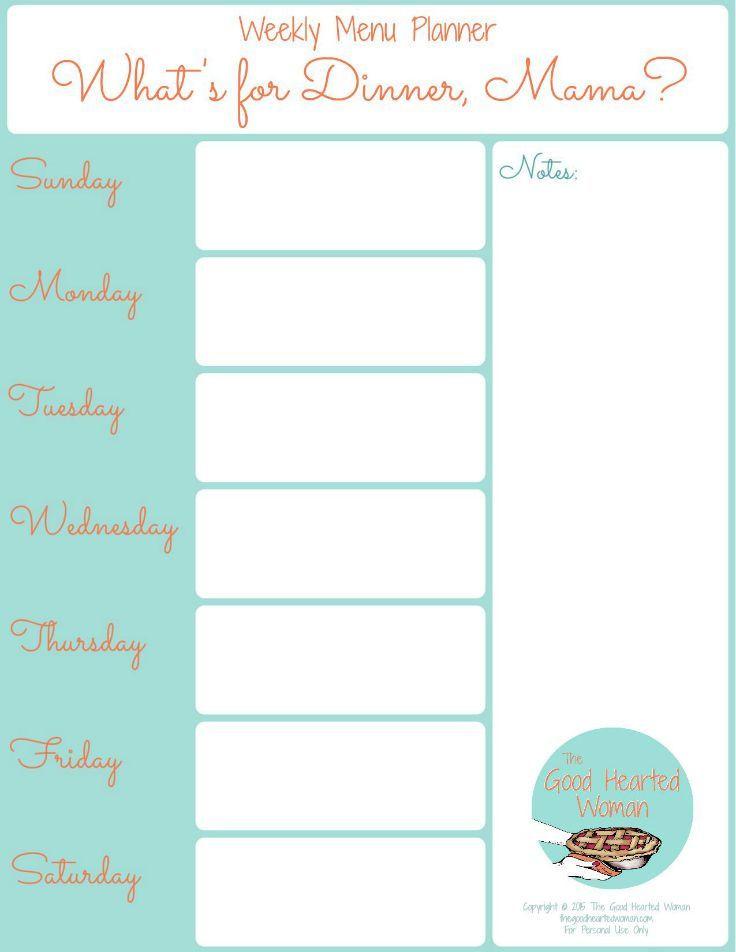 Weekly Dinner Menu Planner Template Printable Weekly Menu Planner