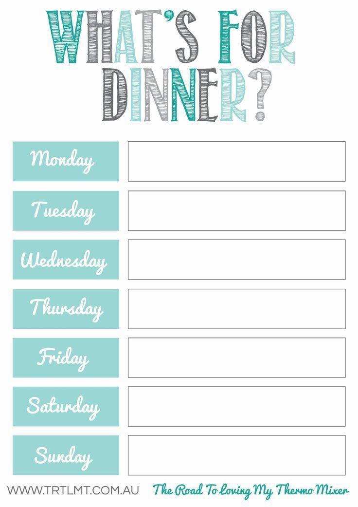 Weekly Dinner Menu Planner Template Printables
