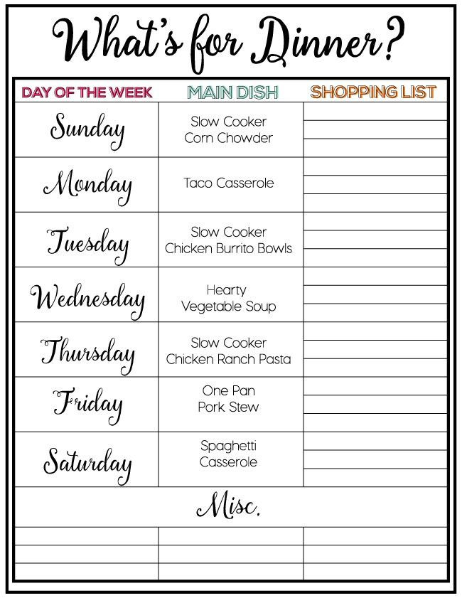 Weekly Dinner Menu Planner Template Taco Casserole