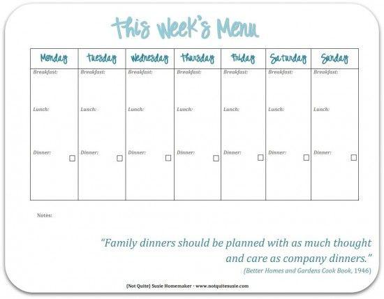 Weekly Dinner Menu Planning Template 30 Family Meal Planning Templates Weekly Monthly Bud