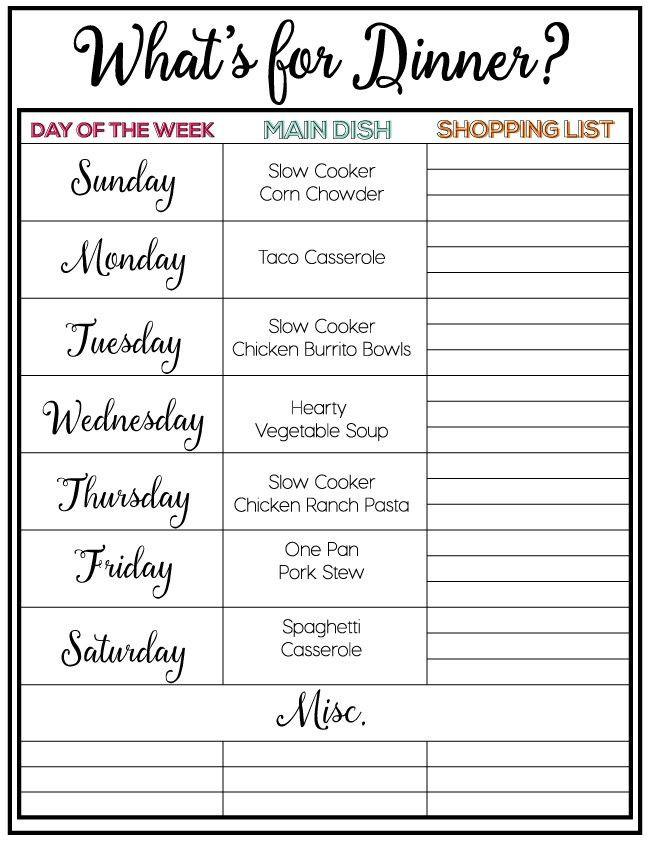 Weekly Dinner Menu Planning Template Taco Casserole