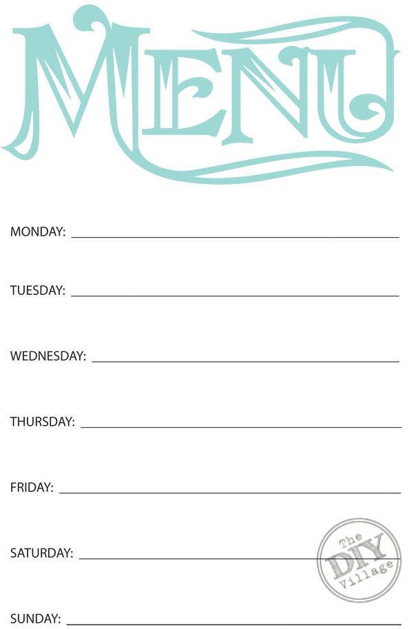 Weekly Dinner Plan Template Free Printable Weekly Menu Planner the Diy Village