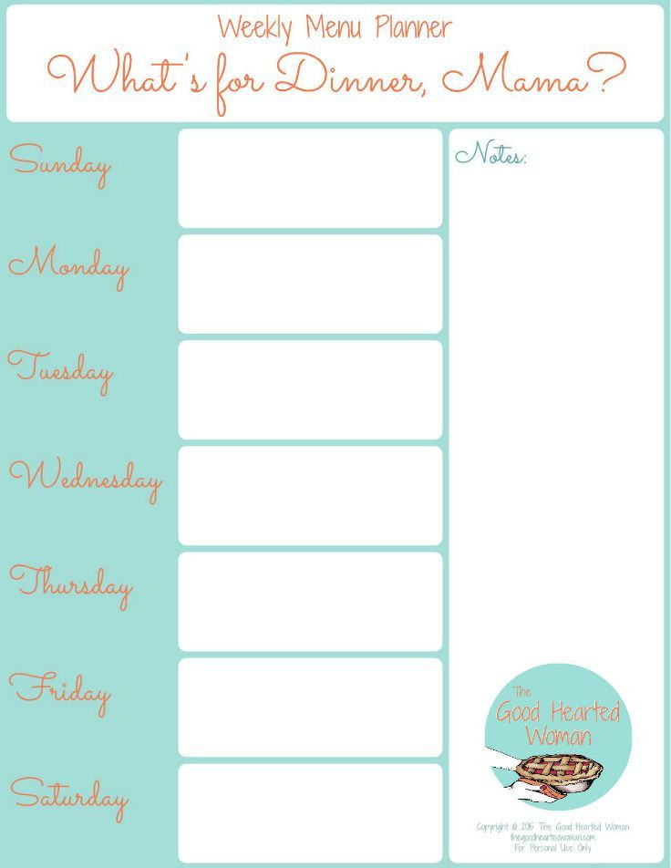 Weekly Dinner Plan Template Printable Weekly Menu Planner
