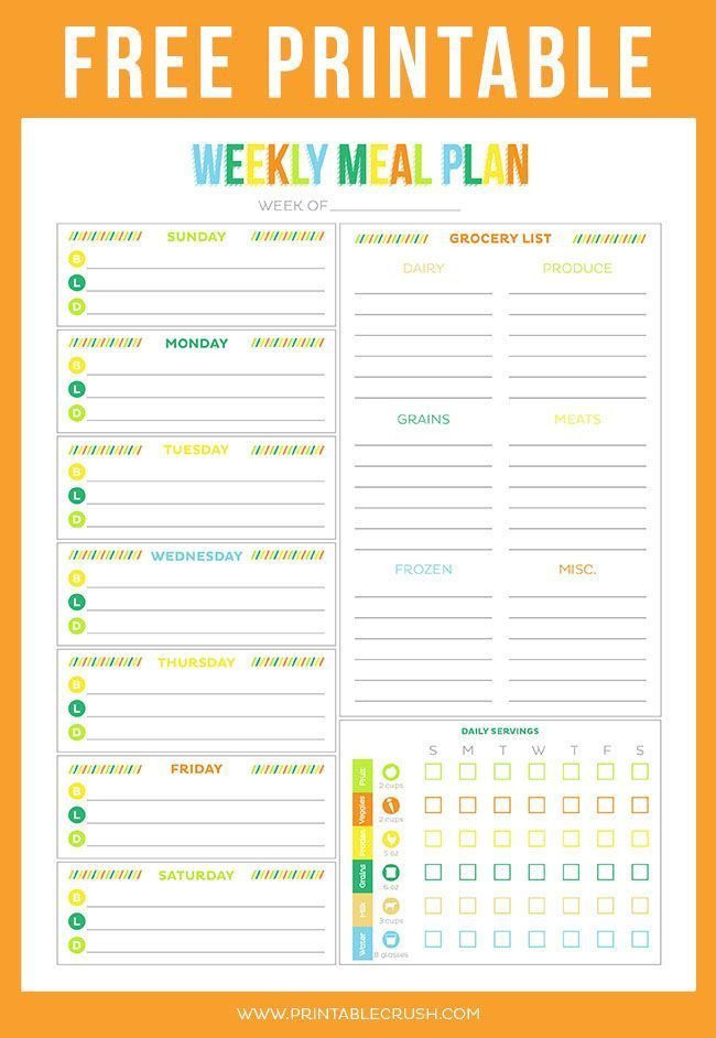 Weekly Meal Planner Template Pin On Sheets to Print