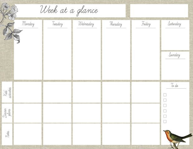 "Weekly Planner 2016 Template Free Printable ""week at A Glance"" Planner"