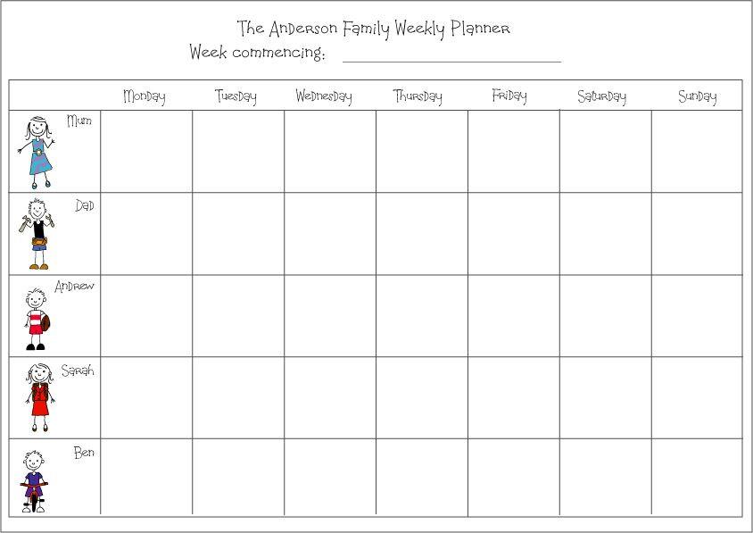 Weekly Planner 2016 Template Weekly Family Planner Calendar