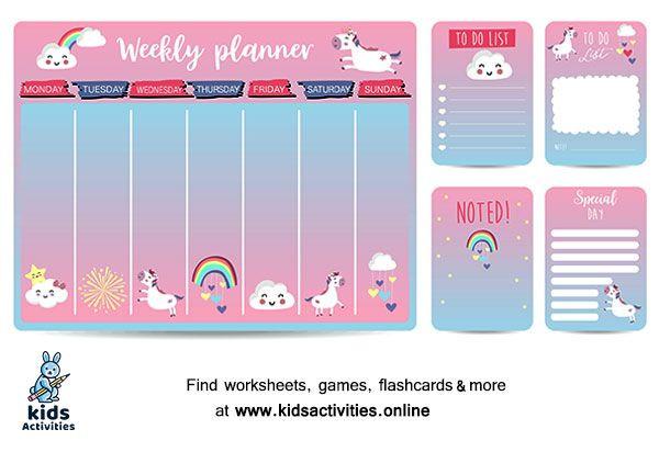 Weekly Planner Template for Kids Cute Weekly Schedule Template Printable ⋆ Kids Activities