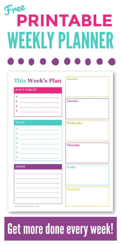 Weekly Planner Template for Kids Free Printable Weekly Planner