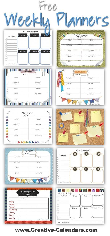 Weekly Planner Template for Kids Weekly Planner Creative Calendars