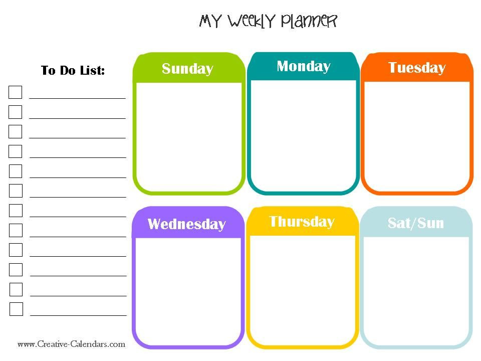 Weekly Planner Template for Kids Weekly Planner is One Of the Famous Time Management tools