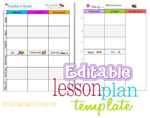Weekly Planner Template for Teachers Cute Lesson Plan Template… Free Editable Download