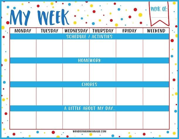 Weekly Planner Template for Teachers Weekly Planner Printable for Kids