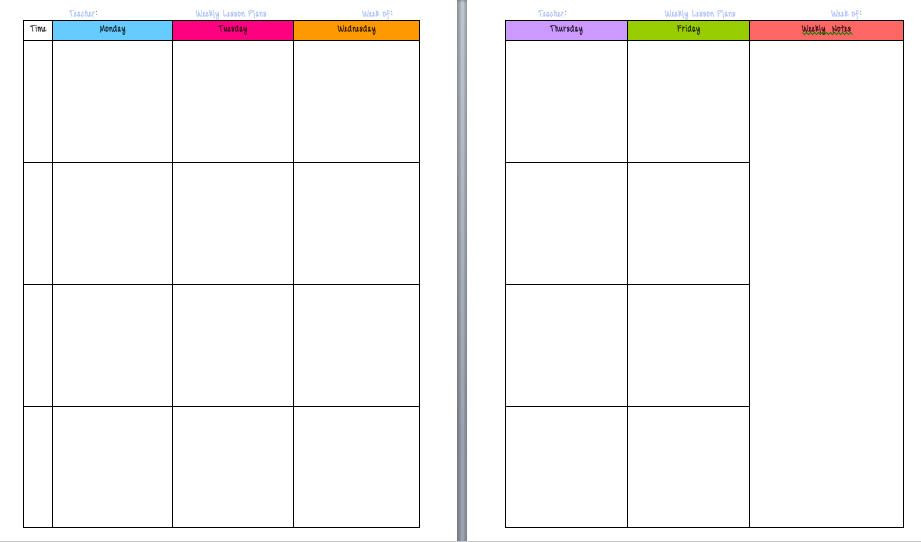 Weekly Planner Template for Teachers Yo Ms Amos