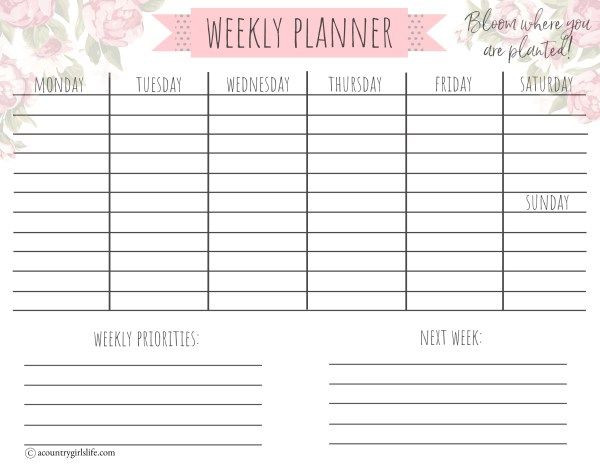 Weekly Planner Template Printable Free Free Printable Daily Planner Free Matching Monthly