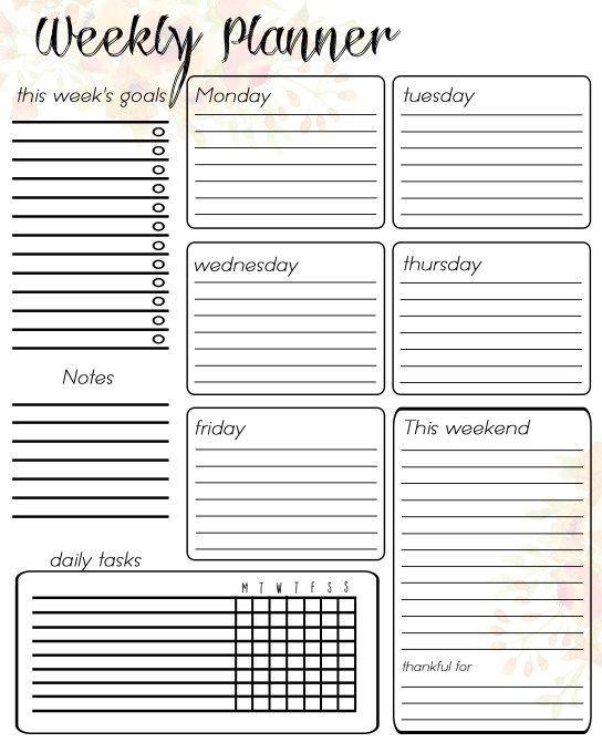Weekly Planner Template Printable Free Free Printable Weekly Planner