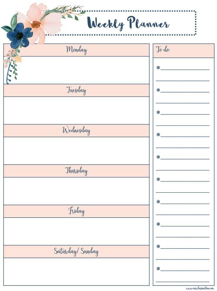 Weekly Planner Template Printable Free Free Printable Weekly Planner – Our Class Nation