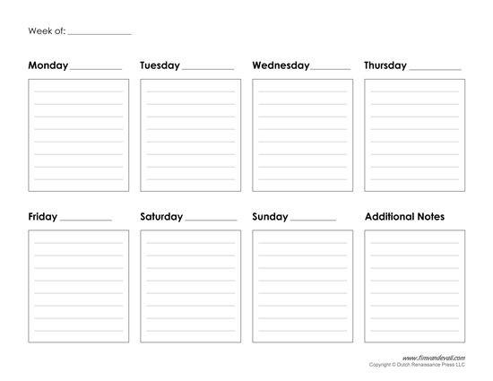 Weekly Planner Template Printable Free Printable Weekly Calendar Template Free Blank Pdf