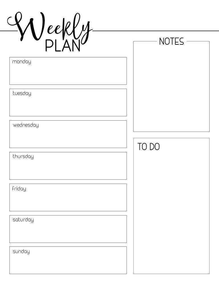 Weekly Planner Template Printable Free Weekly Planner Template Free Printable