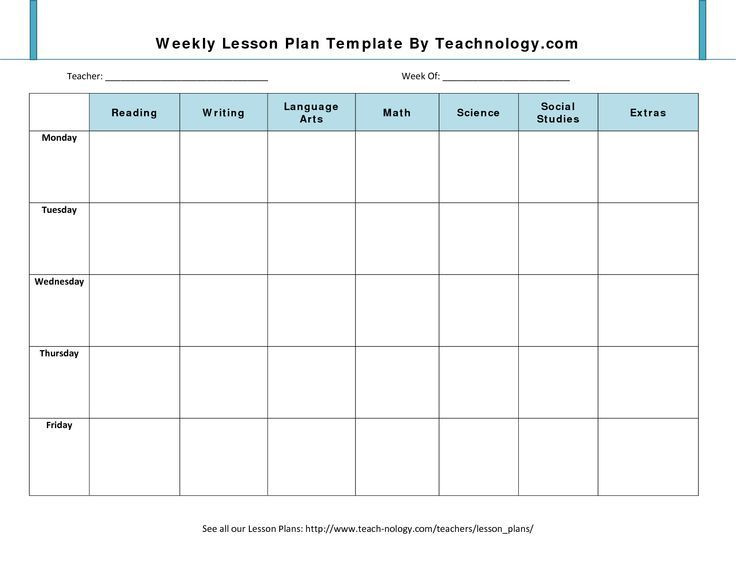 Weekly Planning Template for Teachers Blank Lesson Plan Template