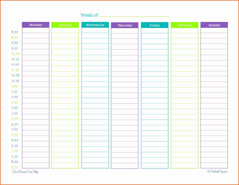 Weekly Schedule Planner Template Printable Weekly Schedule Template Awesome 6 Weekly