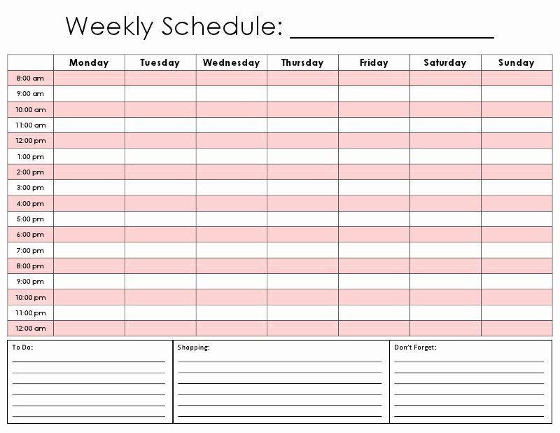 Weekly Schedule Planner Template Weekly Hourly Planner Template Beautiful E Tiny Moment