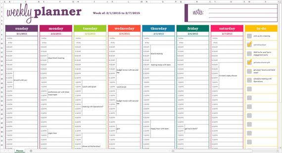 Weekly Schedule Planner Template Weekly Planner Printable Excel Planner Template Weekly