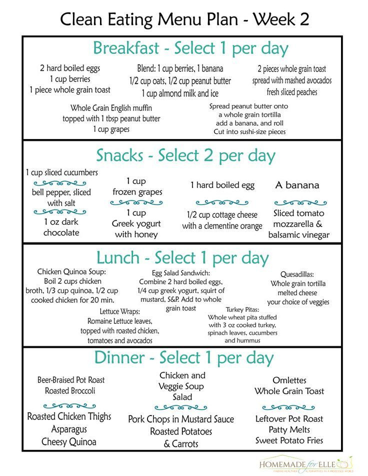 Weight Loss Meal Plan Template Clean Eating Meal Plan Week 2 Homemade for Elle