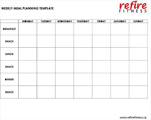 Weight Loss Meal Planner Template Free Printable Weekly Meal Planning Template