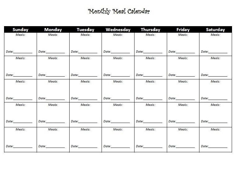 Weight Loss Meal Planner Template Monthly Diet Calendar Template