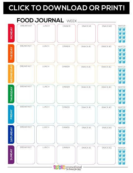 Weight Loss Menu Planner Template Free Printable Food Journal Motivate Your Fitness Group