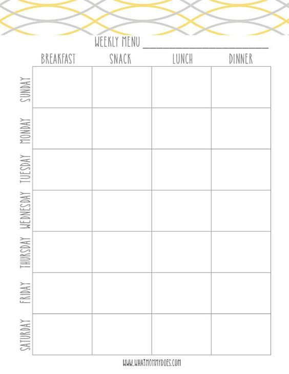 Weight Loss Menu Planner Template Free Printable Weekly Meal Planning Templates and A Week S