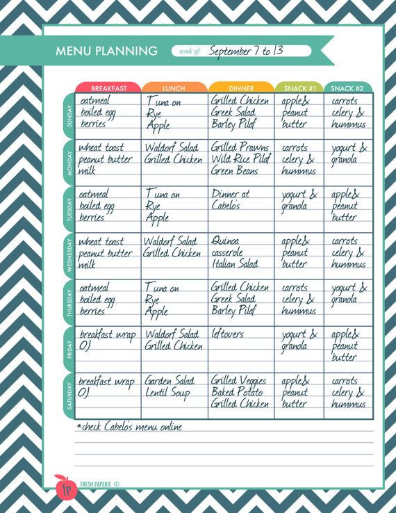 Weight Loss Menu Planner Template Pin On Cheer T